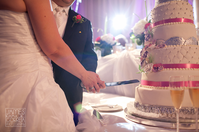 chateau royal montreal wedding photographer cake cutting