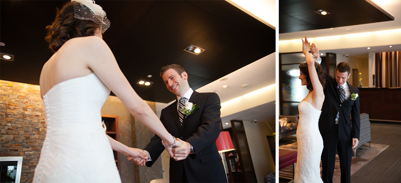 novotel Montreal Wedding Photography first look groom reaction