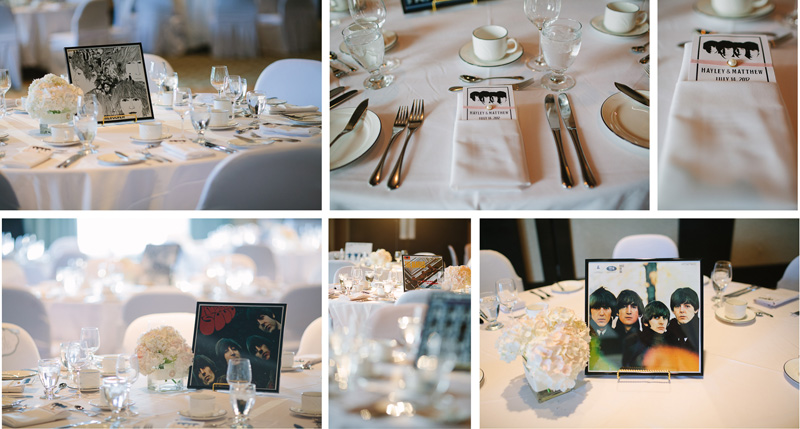 Beatles table details conference center Wedding Photography