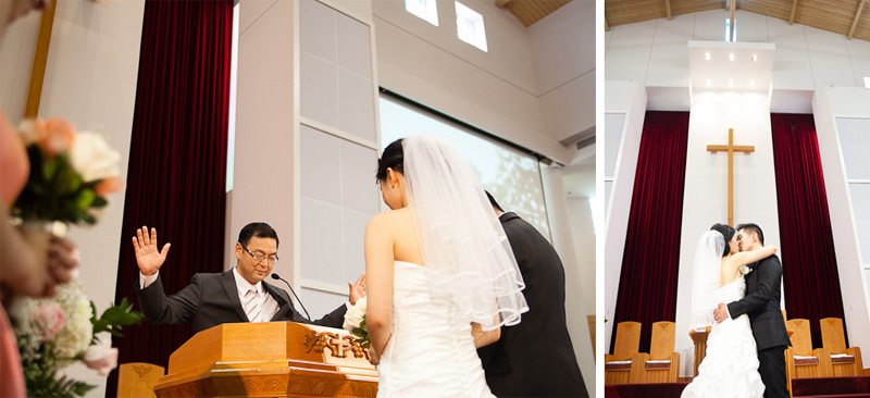 Korean presbyterian YoungNak Toronto Wedding Photographer first kiss