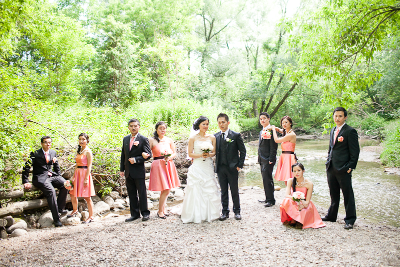 German Mills Settlers Park Toronto Wedding Photographer bridal party