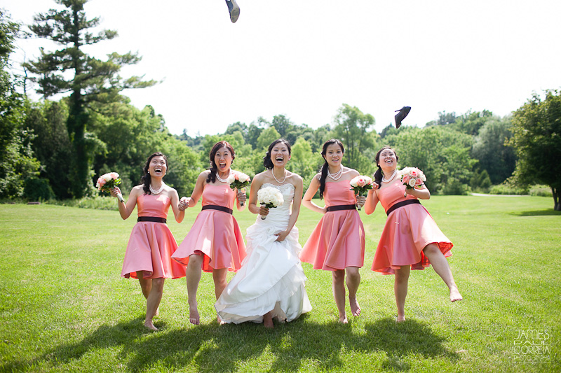 German Mills Settlers Park Toronto Wedding Photographer bridesmaids kick off shoes
