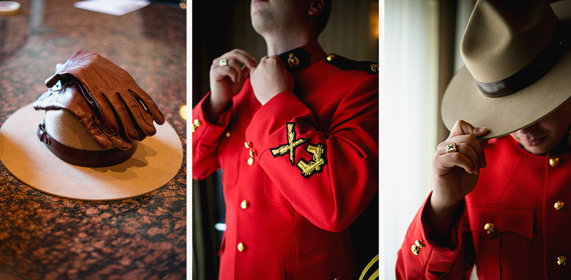 Montreal Wedding Photographer Mountie getting dressed