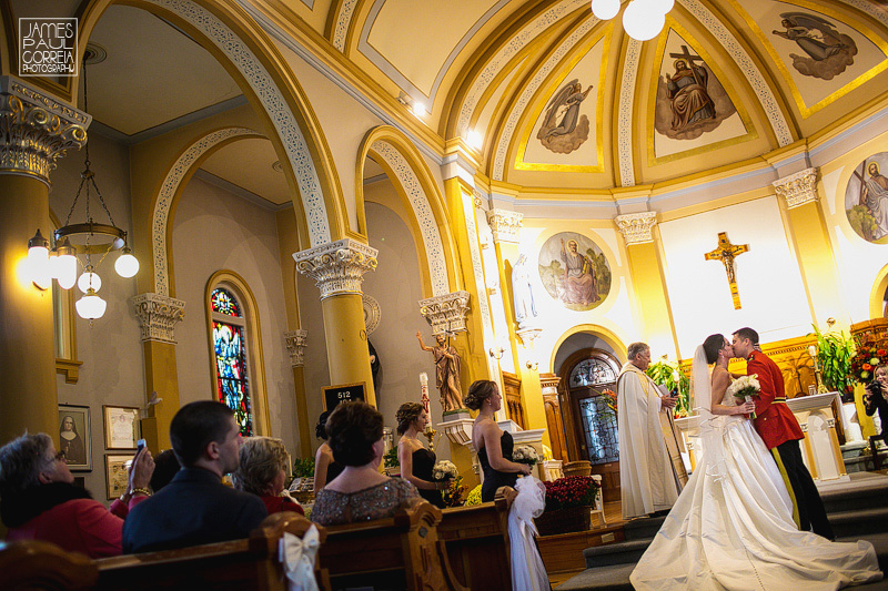 St Thomas Aquinas Church Hudson Wedding Photographer first kiss