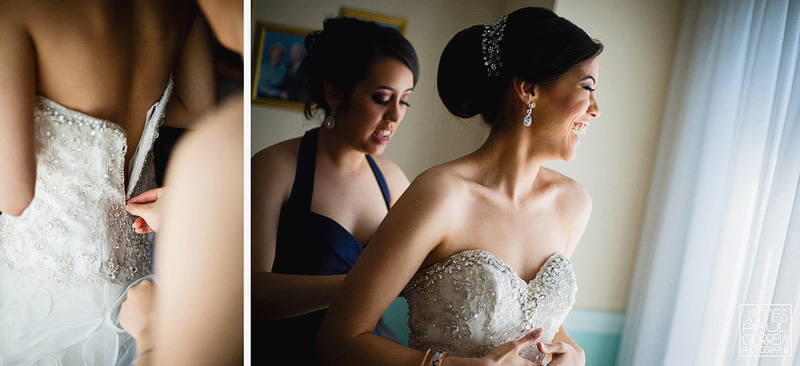 sister helps bride zip dress Wedding Photographer in montreal