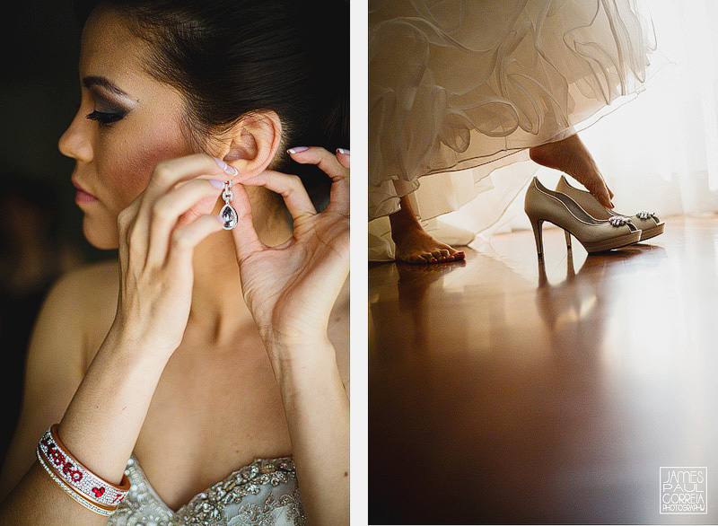 Wedding Photographer in montreal bride puts on earrings and shoes