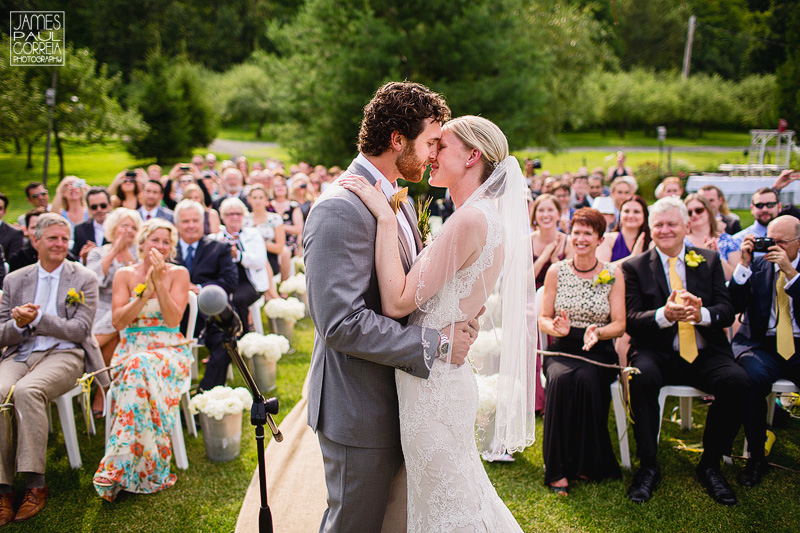 Bromont Wedding Ceremony Photographer first kiss