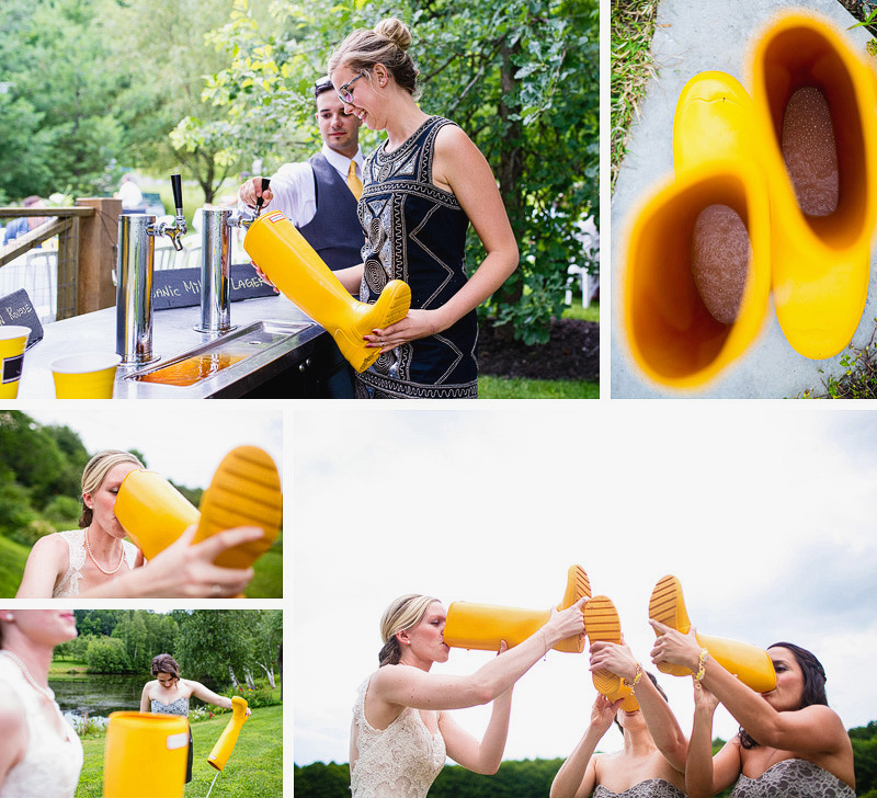 Montreal Wedding Photographer - bride drinking beer from hunter boots