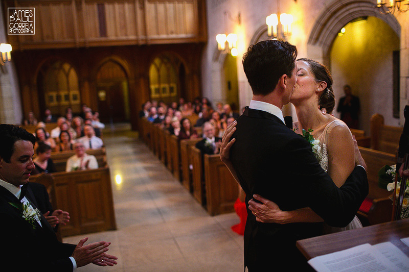 briks chapel mcgill wedding photographer first kiss
