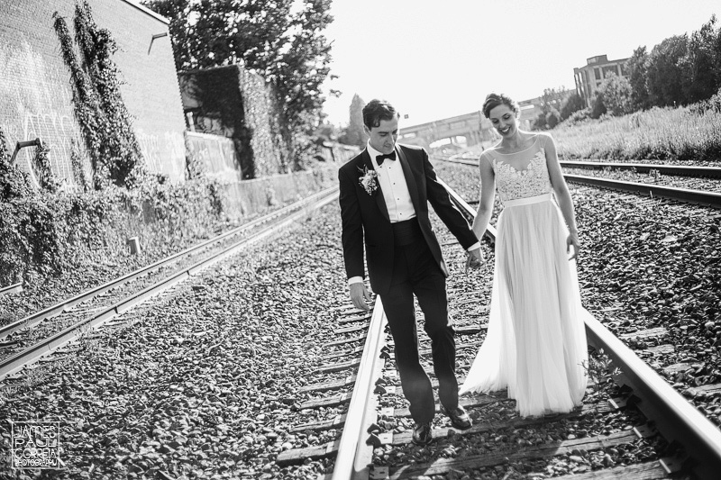 st-henri montreal wedding photographer protrait session on trains tracks