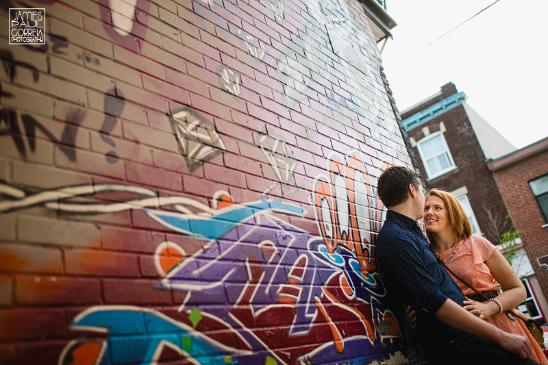 Montreal plateau graffitti engagement photographer