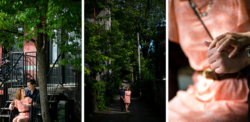 Montreal plateau alley way engagement photographer