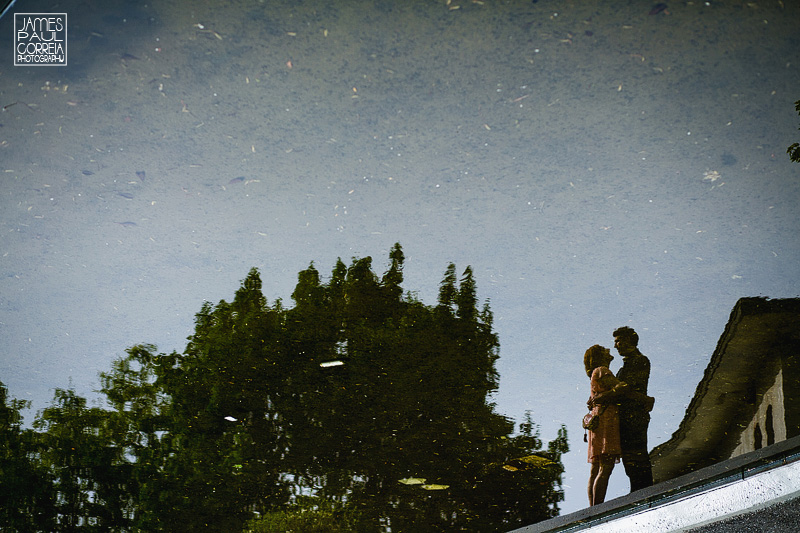 Montreal engagement photographer pond reflection