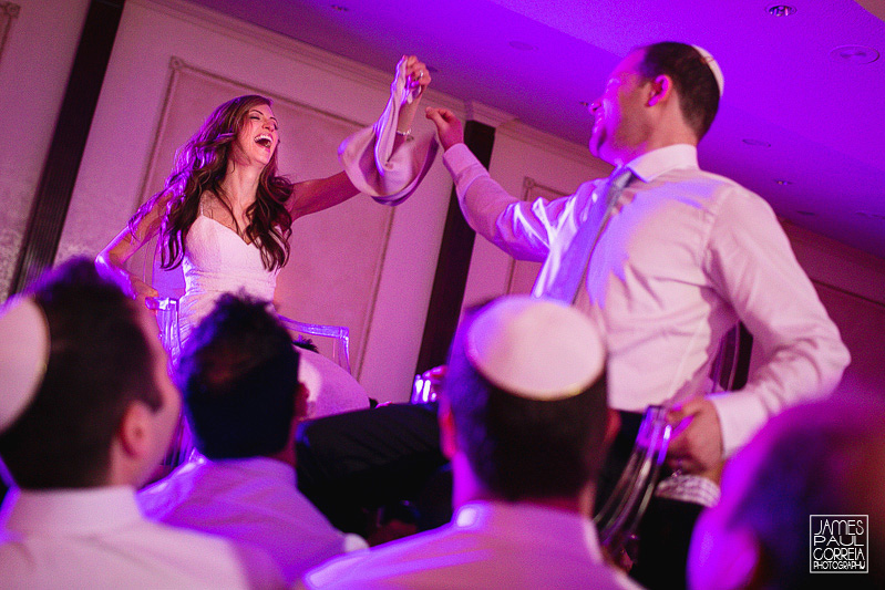 Beth Emeth jewish wedding lifting on chairs