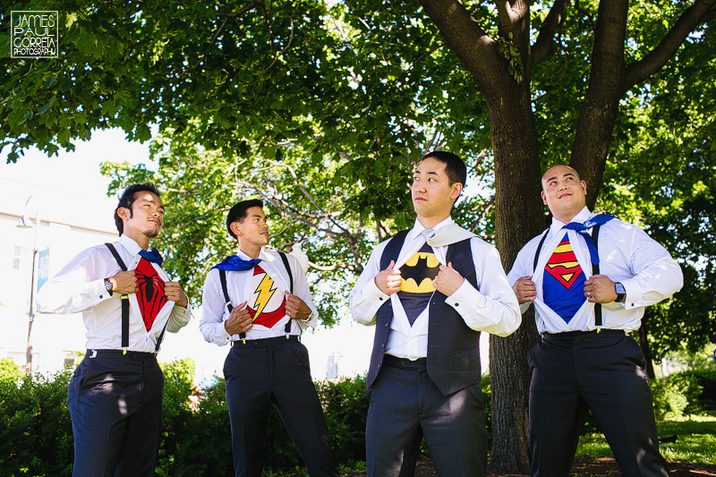 old montreal wedding groomsmen photographer superheroes