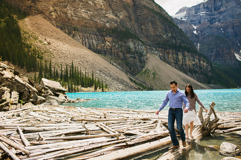 lake moraine engagement photographer