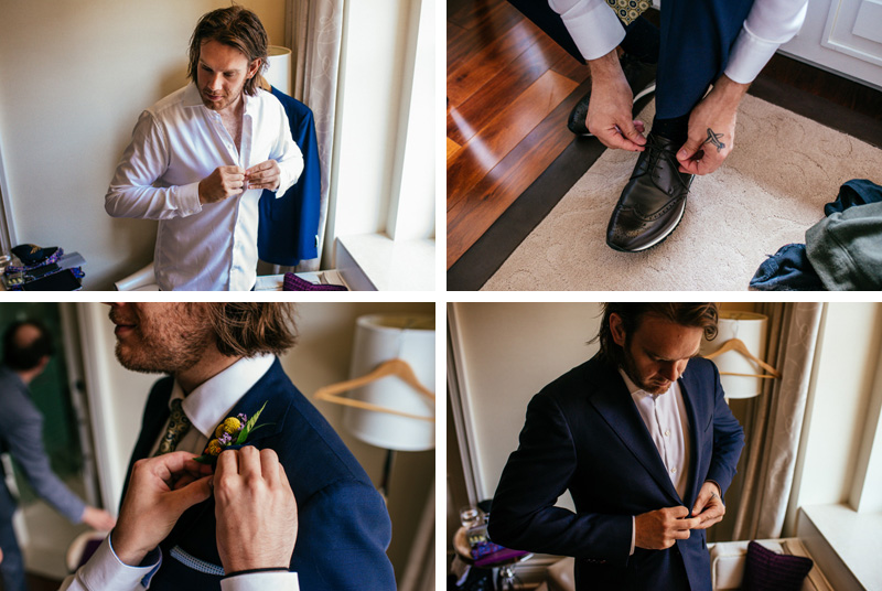 ritz carlton montreal wedding photographer groom getting dressed