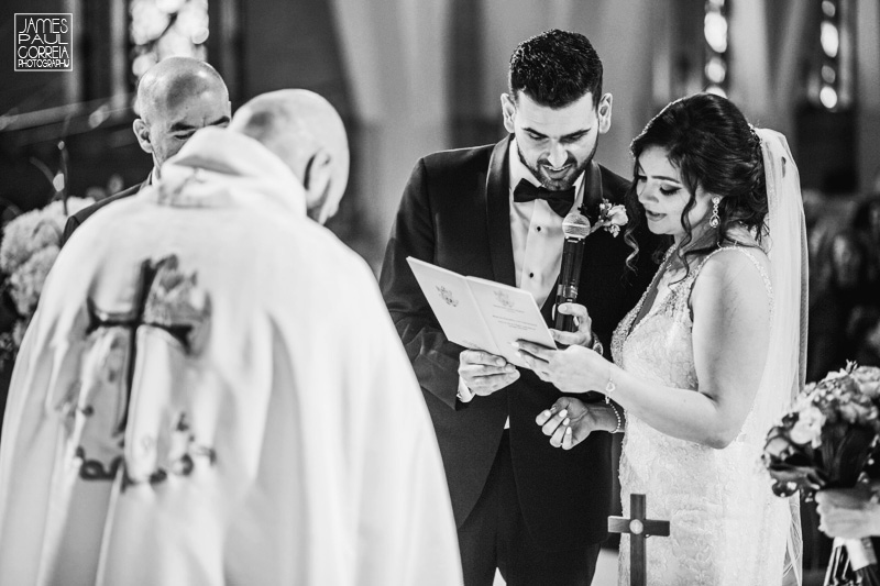 St Maron Cathedral wedding photographer reading vows