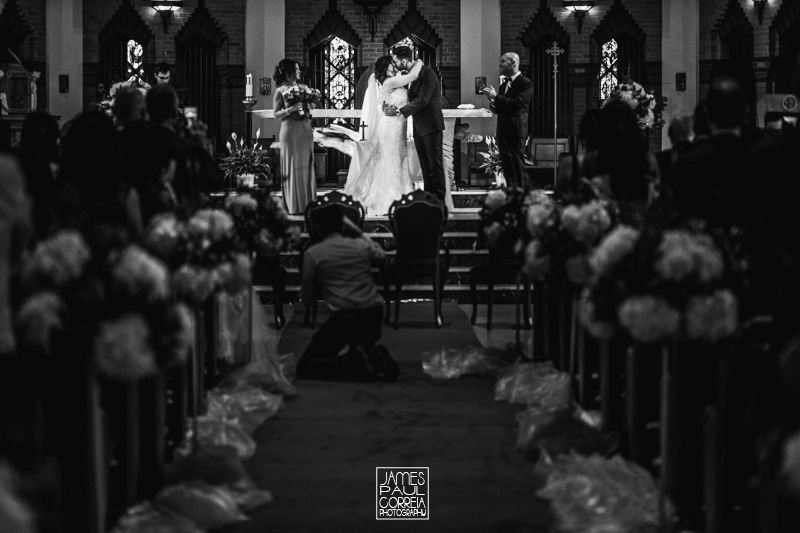 St Maron Cathedral wedding photographer first kiss
